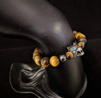 Wolf head and tiger's eye beaded bracelet with magnetic clasp