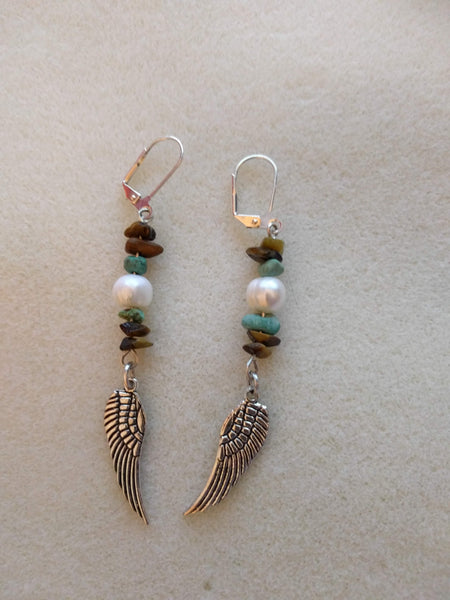 Lovely tigers eye, turquoise and freshwater pearl beaded earrings with silver wing