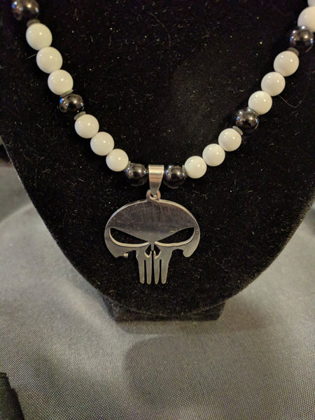 Stainless Steel Punisher skull pendant on beaded necklace