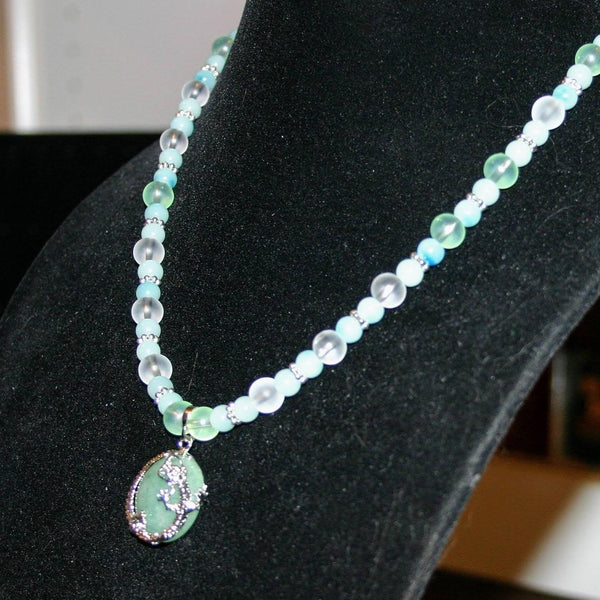 Sea Glass Beaded Necklace with Dragon Pendant