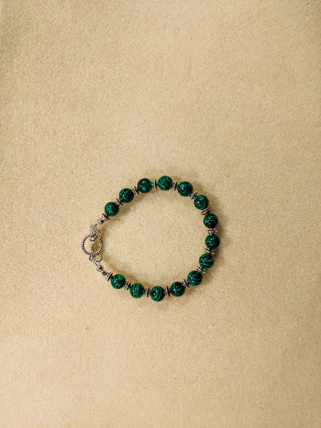 Malachite beaded bracelet