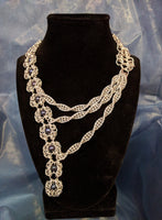 Asymmetrical Romanov weave necklace with black pearl
