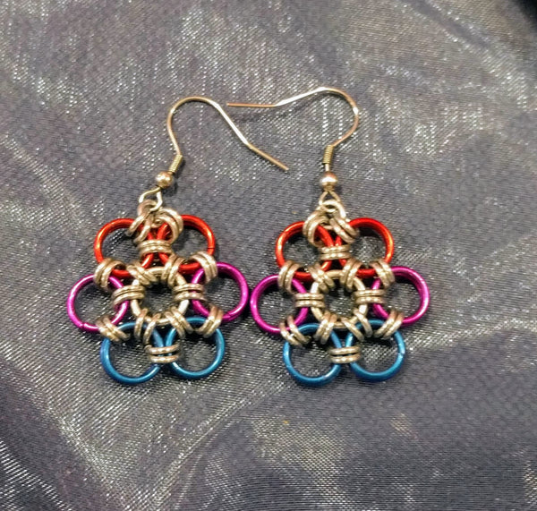 Chainmail flower pride earrings