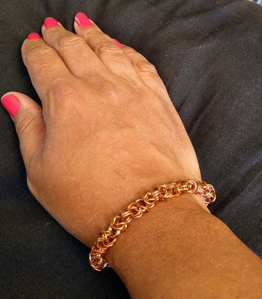 Bold Bright Copper Byzantine Chainmail Bracelets