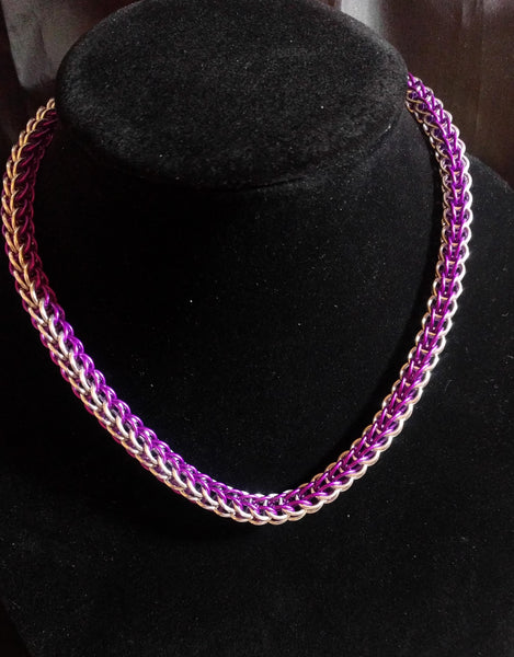 Purple and Silver Persian Weave Chainmail Necklace and Bracelet Set