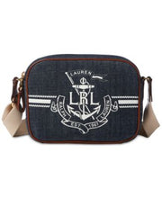 Load image into Gallery viewer, Ralph Lauren Huntley Camera Denim White Jeans Anchor Logo Bag Zip Closure