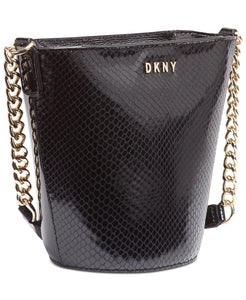 DKNY Kim Croc Embossed Chain Leather Bucket Bag
