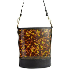 INC Clear Bucket Bag Tortoise Removable Pouch