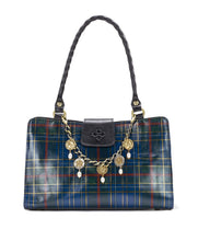 Load image into Gallery viewer, Patricia Nash Rienzo Satchel Blue Green Tartan Plaid