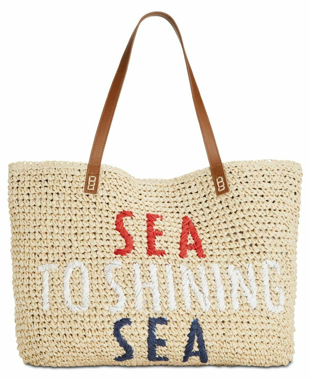 INC Tropical Straw Tote Bag
