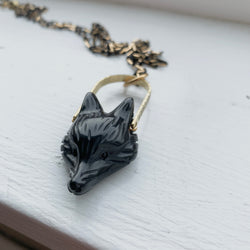 Fox Stamped Necklace - Obsidian