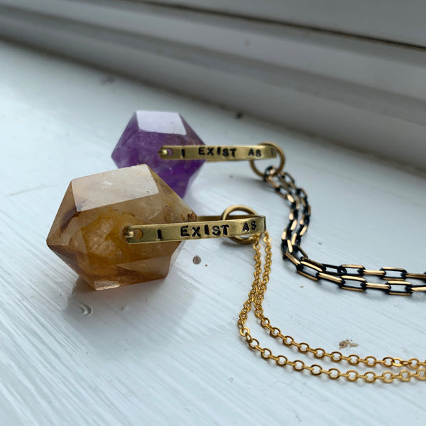 """I Exist as I am That is Enough"" Crystal Necklace - Amethyst / Citrine"