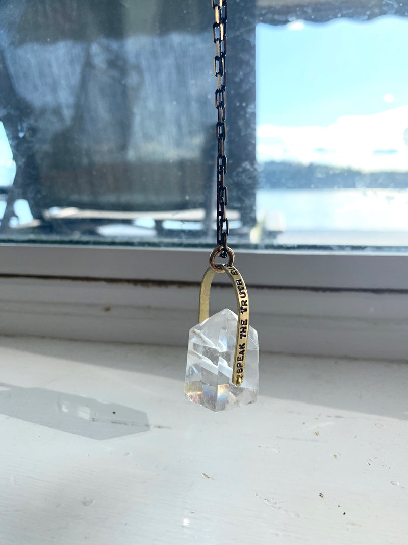"""Speak the Truth"" Crystal Necklace - Quartz"