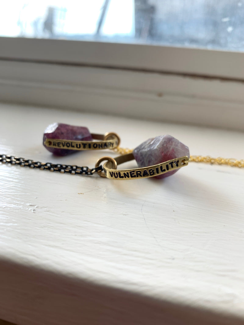 """Revolutionary Vulnerability"" Crystal Necklace - Pink Tourmaline 