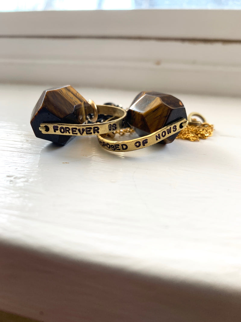 """Forever is Composed of Nows"" Crystal Necklace - Tiger's Eye"