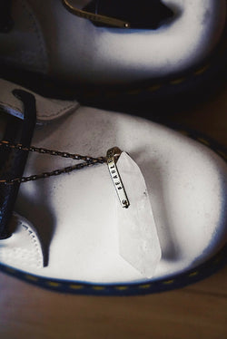 "Girrlscout's ""Fearless Little Fucker"" Crystal Necklace - Quartz / Obsidian"