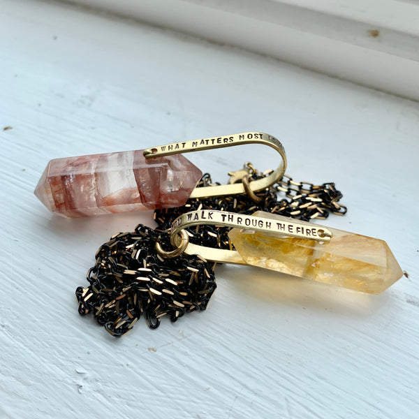Bukowski Crystal Necklace - Citrine / Quartz