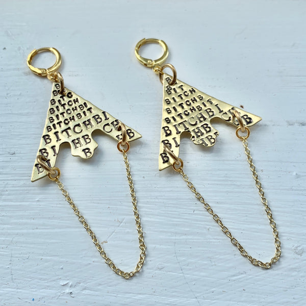 """Bitch"" Stamped Earrings"