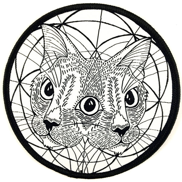 Large Embroidered Iron-on Patch - Cat Patch - Black and White Patch - Sacred Geometry - Jacket Patch - Hipster Patch - Unique Patch - Gift