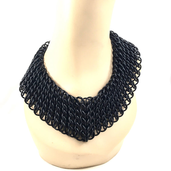 Chainmail Statement Necklace - Black Statement Necklace - Bold Chain Collar - Goth Necklace - Chunky Chainmail jewelry - Unique Necklace