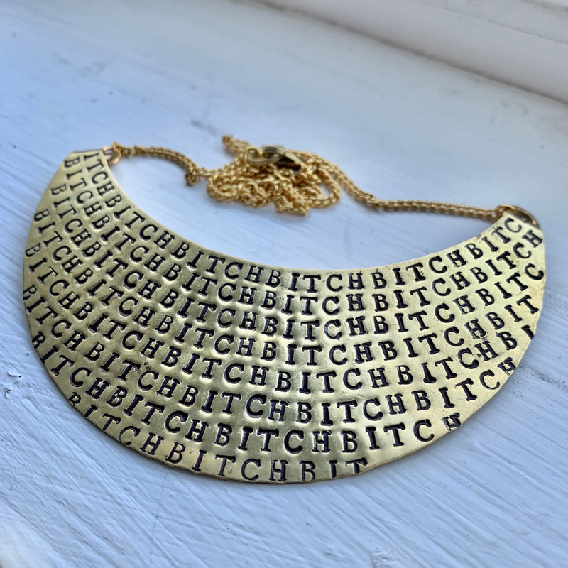 Crescent Moon Fuck/ Bitch Stamped Necklace