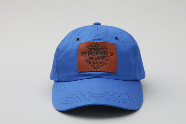 Blue Hat with Leather Patch