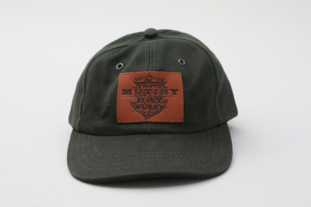 Green Hat with Leather Patch