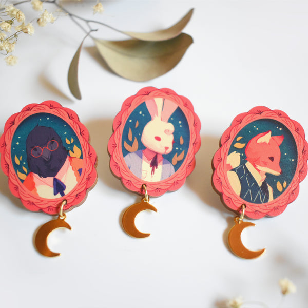 Woodland Animal Cameo Wood Pins