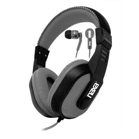 Naxa DJZ ULTRA PLUS Headphones and Earphones Combo- Gray