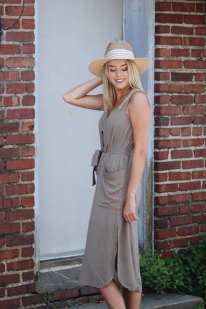 Military Trend Button Front Midi Dress