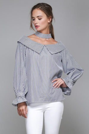 Blame Me Striped Off the Shoulder Top