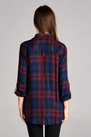Charged Up Button Down Plaid - Savoir-Faire | Women's Clothing Boutique