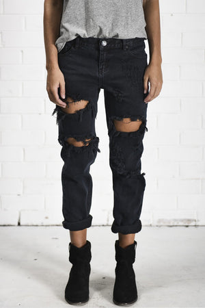 One Teaspoon Fox Black Awesome Baggies Denim