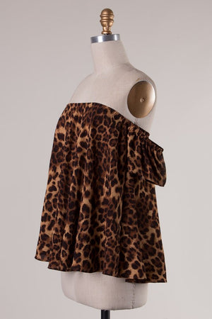 Animal Print Cold Shoulder Top - Savoir-Faire | Women's Clothing Boutique