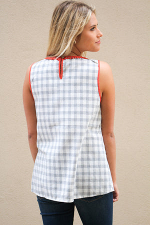 Just What I Needed Gingham Tassle Top