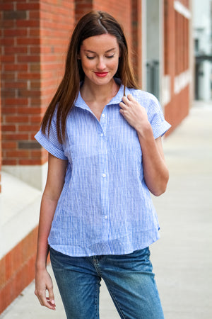 Easy As That Textured Striped Button Top