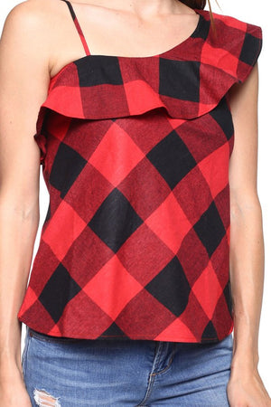 Fearlessly Red One Shoulder Top - Savoir-Faire | Women's Clothing Boutique