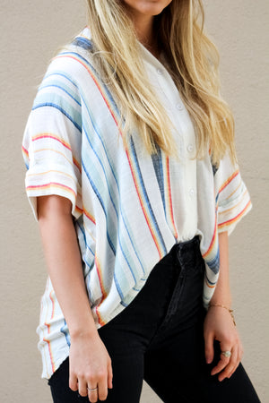 More Than Okay Multi Color Striped Top