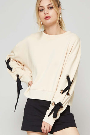 Dropped Shoulder Lace Up Long Sleeve Sweater