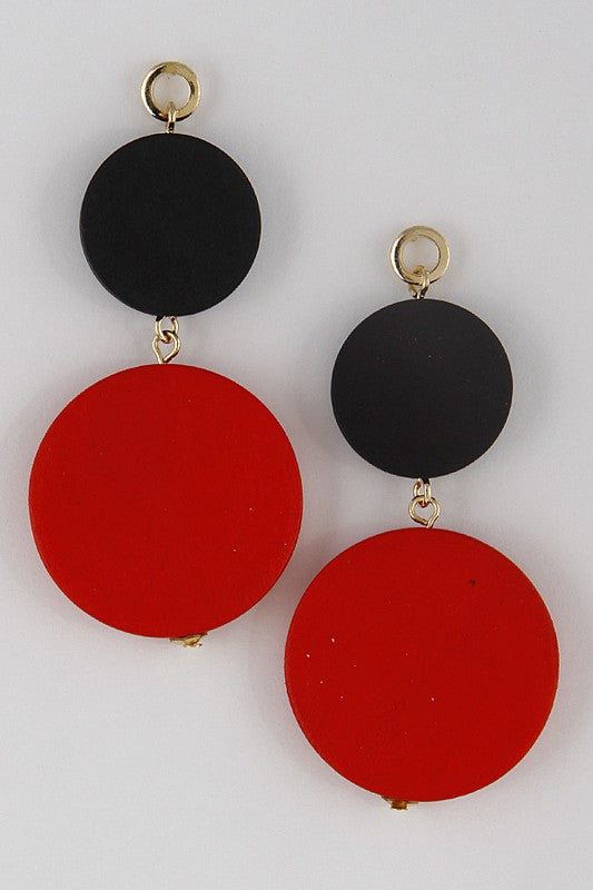 Red and Black Statement Earring