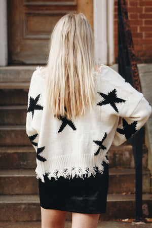 Star Of The Show Distressed Sweater