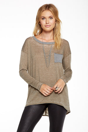 Chaser Brand Boxy Pocket Tee - Savoir-Faire | Women's Clothing Boutique