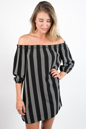Off the Shoulder Striped Dress