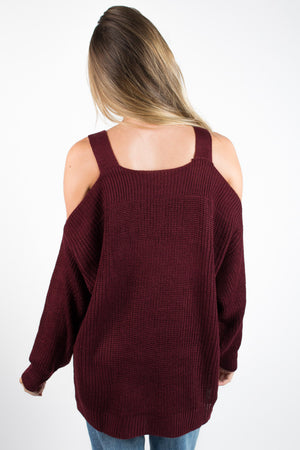 Cold Shoulder Long Sleeve Sweater - Savoir-Faire | Women's Clothing Boutique