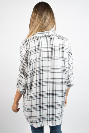 Off Duty Boyfriend Plaid Top