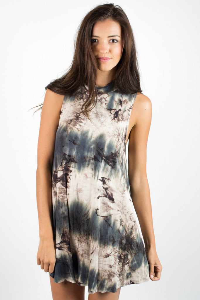 Tie Dye Mock Neck Swing Dress