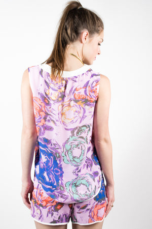 Watercolor Floral Placket Top - Savoir-Faire | Women's Clothing Boutique