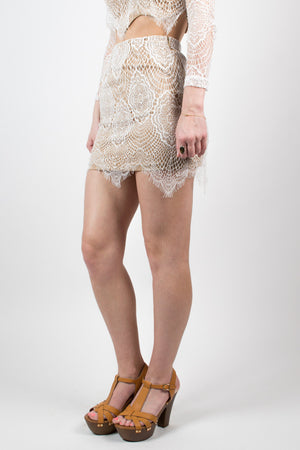 White Sunny Style Lace Skirt