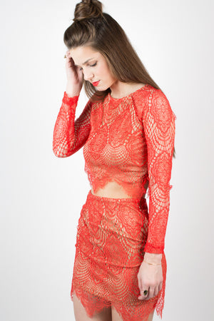 Red Sunny Style Lace Crop Top