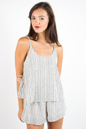 On Your Way Striped Romper